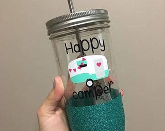 Happy Camper Mason Jar, Drinking Glass, custom glitter and camper color to match