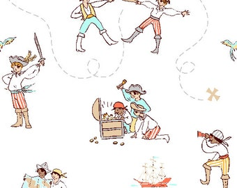 A Pirates Life in Seafoam Fabric from Best of Sarah Jane for Michael Miller Fabrics (children at play reprint)