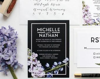 Wedding Invitation / Florals and Ferns / Modern Invitations / Semi Custom Wedding Invitation / Bold