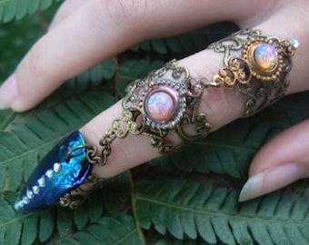 claw ring armor ring triple chained jewel beetle ring nail ring nail tip ring knuckle ring vampire goth victorian goddess pagan boho gypsy