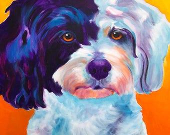 Teddy Bear Dog, Pet Portrait, DawgArt, Dog Art, Pet Portrait Artist, Colorful Pet Portrait, Shichon, Zuchon, Pet Portrait Painting