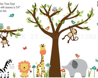 Jungle Decals, Jungle Wall Decals, Nursery Wall Decal, Giraffe, Elephant, primary color nursery decor, Lion, XXXL Standard Jungle Design