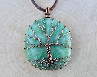 Tree of Life Pendant, Jasper Necklace, Green Jasper, Crystal Necklace, Wire Wrapped, Healing Crystal, Gemstone Necklace, Spiritual Jewelry