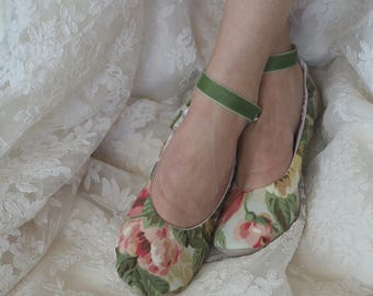 Vintage Rose Ballet Wedding  Shoes, English Rose Bridal Ballet Slipper, Rose Garden Ballerina Slippes, Custom Bridal Shoes