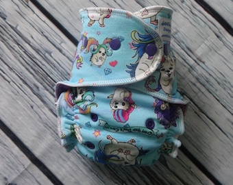 One Size Stay Dry Overnight Fitted Cloth Diaper in Crazy Hair Don't Care by Soothe Baby