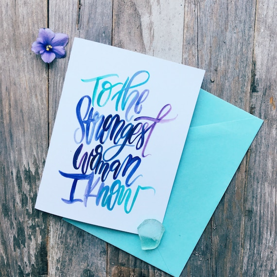Encouragement card for strong mom, single mother, blue ombre illustrated card, encouraging card, feminist mom, card for mum, gift for her