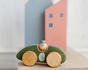 Personalized Wooden Toy Car, Toy Racing Car, Toddler Toy Car, Handmade Wooden Car, Toddler Boy Gift, a Green Car