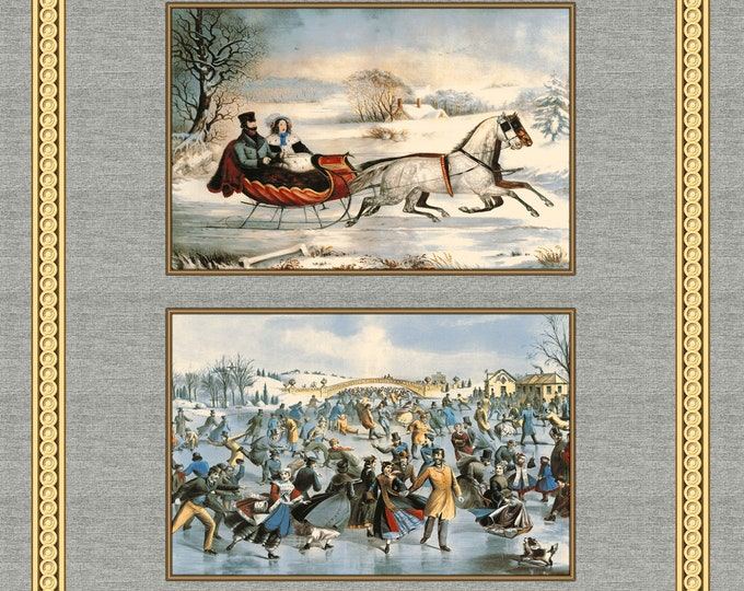 HOLIDAY FABRIC PANEL, On Frozen Pond Cloth Panel by Whistler Studio for Windham Fabrics 35.5 x 44