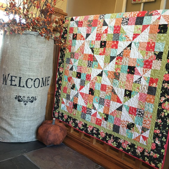 Digital Pattern Pinwheels Over Patchwork Charm Pack Quilt