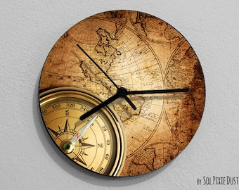 Map wall clock etsy vintage world map compass wall clock gumiabroncs Choice Image