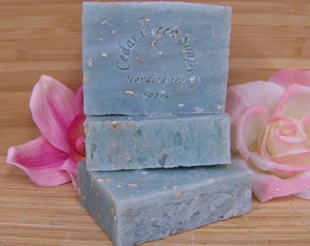 Sparking Water Soap Cold Processed Soap All Natural and Vegan Soap Fresh Clean Scent with Oatmeal Scrub