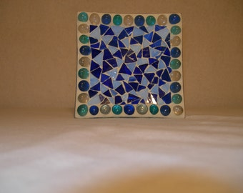Square fimo glass pillar plate candle holder ( Blue)