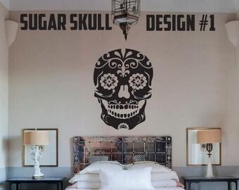 Sugar Skull - 5 Designs - Vinyl Wall Decals - Multiple Colors