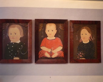 Folk Art Portraits - Three Children print from 19th century children Nursery Portraits - framable digital portrait gift for mom