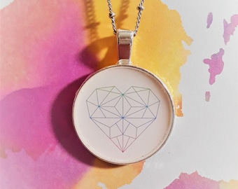 """1"""" Geometic Heart necklace"""