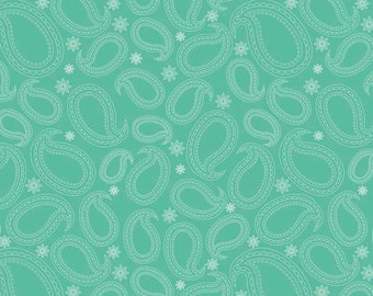 Primavera Paisley in Teal Cotton Fabric by Patty Young for Riley Blake