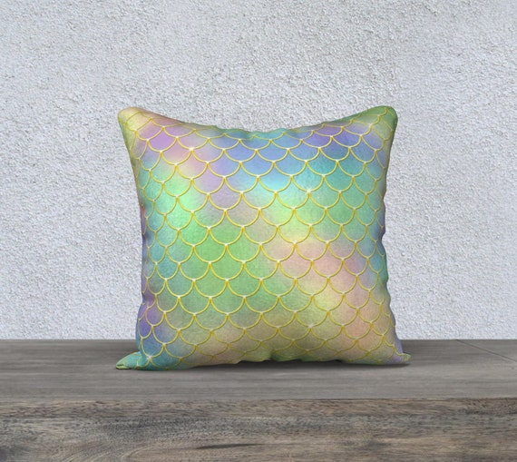 rainbow mermaid scales pattern pillow cover