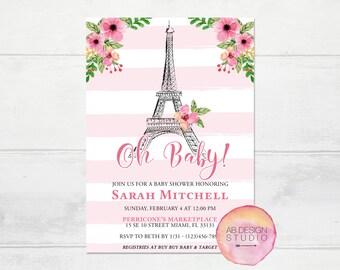 Paris Baby Shower Invitation - Floral Parisian Baby Invite - Eiffel Tower Invitation - French Babyshower - Paris - Oh Baby! Party Invite