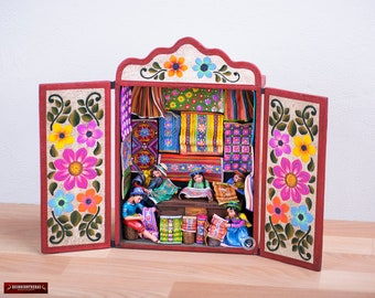 "Handcrafted Retablo Diorama ""Textile Workshop"" from Peru - Handpainted Sculpture - Collectible Wood Diorama -Ceramic Folk Art - Peruvian Art"
