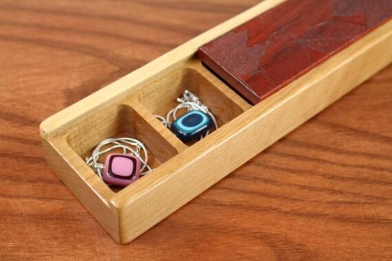 Limited Edition Jewelry Storage Box, Travel Jewelry Box , Solid Paudauk Top/ Cherry Bottom,  Laser Engraved Leaves Pattern, Paul Szewc