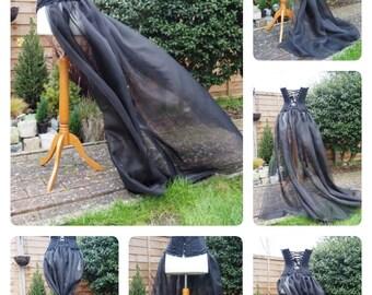 Long Trailing Overskirt Cosplay Wedding Victorian Steampunk Gothic Lolita Burlesque Skirt Dress Prom Bridal Princess
