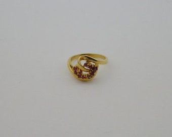 14k Yellow Gold Estate Red Topaz Ring Size 6.25