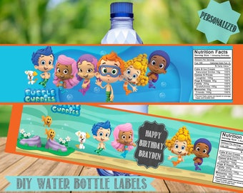 Bubble Guppies Water Bottle Labels- Bubble Guppies Birthday Party Printables-2 Colors-Personalized-Digital File