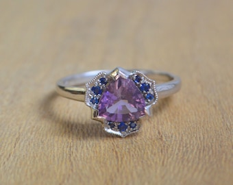 White Gold Trillion Ring, white gold engraved ring, blue sapphire ring, purple gemstone ring, gifts for moms,  purple petal ring
