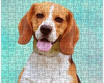 Beagle Dog Portrait Jigsaw Puzzle with Photo Tin, dog photo puzzle, dog print puzzle, dog family puzzle, Pet photo puzzle, puzzle gift