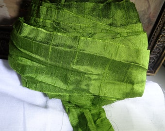 5 Yards LIME AVOCADO SHIMMER Dupioni Silk Hand Dyed Ribbon