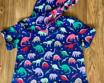 Girls Dino hooded dress size 3/4