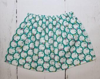 Mint Apple Valley Girls Cotton Skirt, Apples Print Girls Skirt, Knee Length Skirt, Toddler, Baby Skirt, Basics, Toddler Skirt