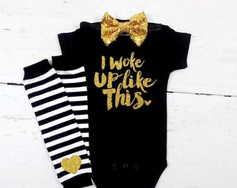 baby girl clothes baby girl clothing baby girl outfit newborn girl outfit newborn girl clothing I woke up like this baby clothes baby shower
