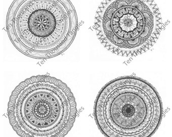 Zendala Coloring Pages / Zentangle® Inspired Art - Set of 4