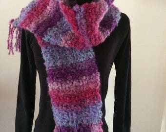 fringed scarf shades of purple, pink and purple soft and warm