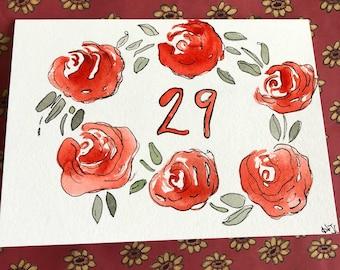 29th Birthday Card, Hand Painted Birthday Card, Homemade 29th Birthday Card
