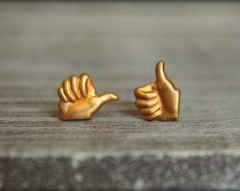Thumbs Up Studs in Raw Brass, Stainless Steel Posts, Quirky Kitschy Earrings, Metal Facebook Like Symbol, Emoji Emoticon Jewelry