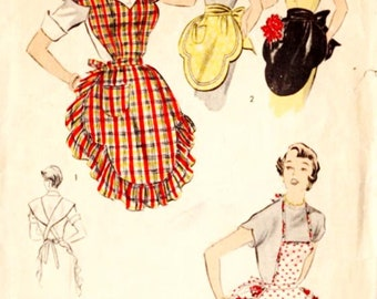 Advance 5667 Vintage 1950s Bib and Half Apron in Two Styles Sewing Pattern