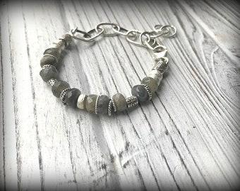 Sterling Silver Faceted Labradorite Bracelet