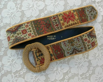 Tapestry Belt, large wrapped belt buckle, sz S, great condition, vintage