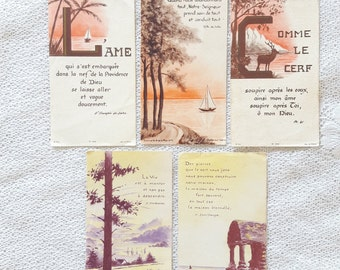 50s - Set of 5 Vintage French Holy Cards - Orange Purple Colors