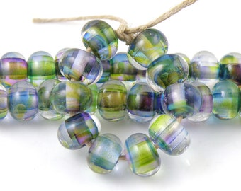 Amazonia Swirls READY to SHIP SRA Lampwork Handmade Artisan Glass Spacer Beads Set of 10 5x9mm