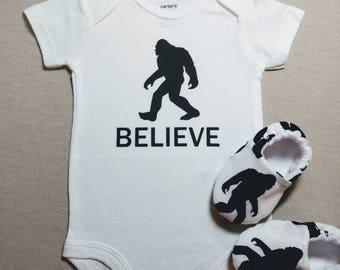 BIGFOOT CARTER'S BODYSUIT Short sleeves and slipper/moccs,  yeti baby,  sasquatch baby, Sizes nb to 24 months