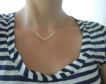 sterling silver necklace, dainty necklace, dainty silver necklace, delicate necklace, silver chevron, v necklace, bridesmaids gift, N200