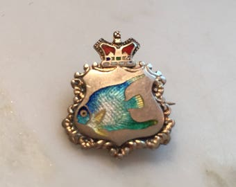 English sterling silver crown brooch with enameled fish