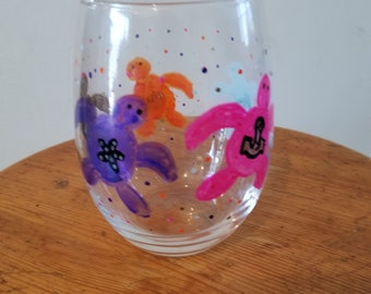 Sea turtles hand painted glass
