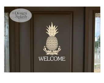 Pineapple Welcome Sign Decal, Tropical Hawaiian Wall Decor, Door Decal, Kitchen Sign, Restaurant Sign, Café Wall Decal, Entryway Decor S-141