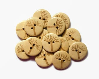 12/24 Wooden Buttons - Tree Buttons - Wood Buttons - Sewing Buttons 20mm - Tree of Life Buttons Brown - Buttons Forest Woodland Buttons