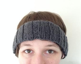 Dark Gray Ribbed Knit Headband Earwarmer -- READY TO SHIP! (Choose your size!)
