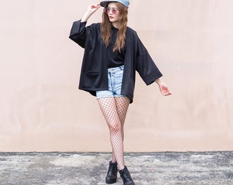 Women's Black Japan Kimono Cardigan, Man Noragi Coat, Oversized Street Haori Jacket, Unisex Streetwear, Loose Style Yukata Overcoat